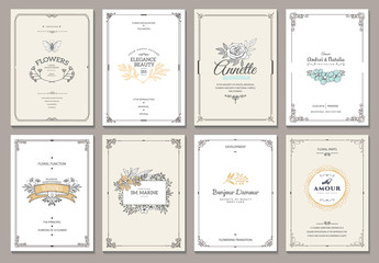 Vintage creative cards template with beautiful flourishes ornament elements. Elegant design for corporate identity, invitation, book covers. Design of background products.
