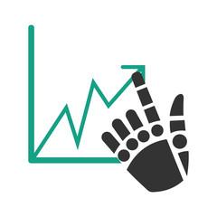 Палец робота контролирует движение графика.