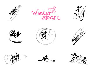 in winter sports/ vector icons with single and team competitions
