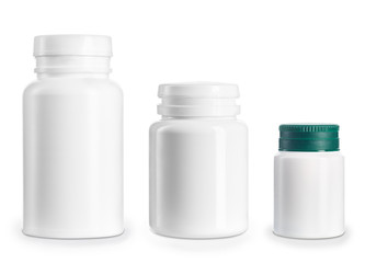 set of medical bottles