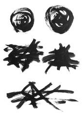 筆で描いた装飾用ラインセット