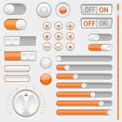 Set of white and orange interface navigation buttons, sliders