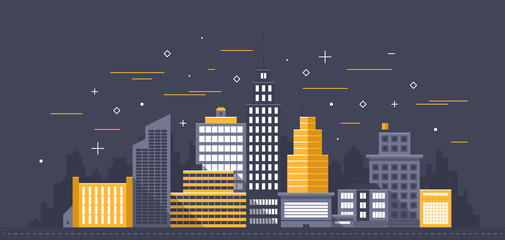 City illustration. Towers and buildings in modern flat style on dark background