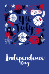 4 July Independence Day banner template with patriotic symbols and abstract elements. Modern hand drawn illustration style.