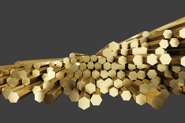 17 Stack of brass rods. Rolled metal products. Isolated on gray background, clipping path included. 3d illustration.