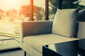contemporary interior of Living room with part of sofa in sunny day and  interior background concept