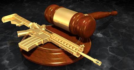 Gun Regulation Law Concept 3D Illustration