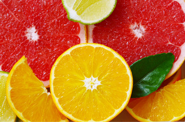 Colorful and various of Citrus fruit