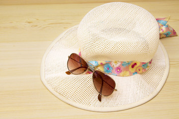 summer accessories, summer hat and sunglasses
