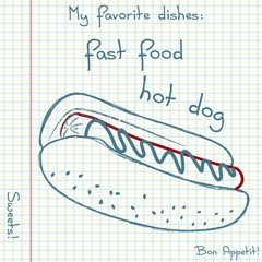 Vector of sketch fast food. Doodle food icons. Hand drawn illustrations on a sheet of exercise book. Blue pen drawing with red details