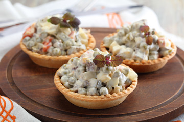 Tartlets with Russian salad