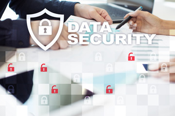 Data protection and cyber security concept on the virtual screen.