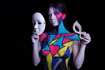 geometry body art painted  girl posing in studio