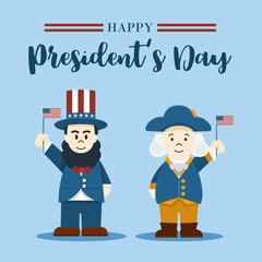 Flat design, Cute Cartoon Abraham Lincoln and George Washington, President's Day