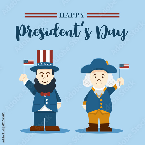 Flat Design Cute Cartoon Abraham Lincoln And George Washington