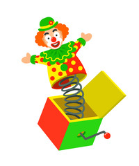 Toy circus clown on a spring pops out of a box. Surprise joke for April Fools day. Jack in a box toy. Vector cartoon illustration