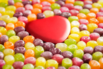 Colorful Candies and Heart Shaped Gift Box