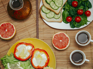 natural and healthy breakfast with toast, coffee and vegetables for vegetarian