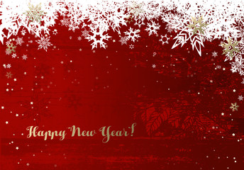 Happy New Year background with white  snowflakes and stars.