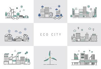 Illustration eco city set