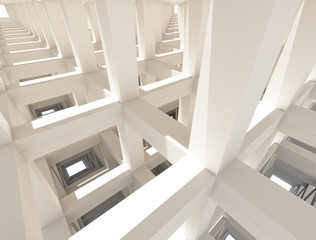 Abstract Concrete Frame Painted White Architecture Background
