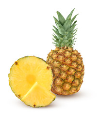 Whole and two slices of pineapple isolated on a white background