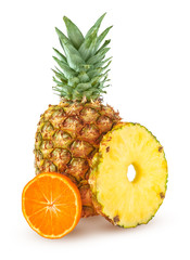 Fresh  tropical fruits. Pineapple with round slice and mandarin isolated on white background