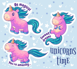 Little pink unicorn stickers. Cartoon characters set. It can be used for  patch, phone case, poster, t-shirt, mug and other design.