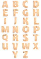 Set of 3D wooden English alphabet letters isolated on white background
