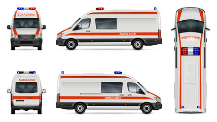Ambulance car vector mock-up. Isolated template of medical van on white. Vehicle branding mockup. Side, front, back, top view. All elements in the groups on separate layers. Easy to edit and recolor.