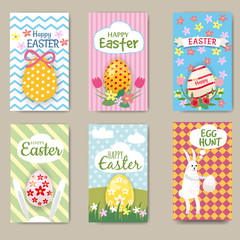 Happy Easter Cards Set with Rabbit. Mini Posters Collection. Vector Illustration