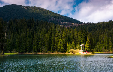 lake in Synevyr national park in springtime. beautiful nature of Carpathians.