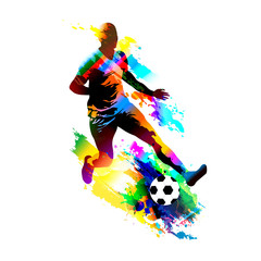 Soccer player running with the ball