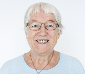 Portrait of smiling white elderly woman