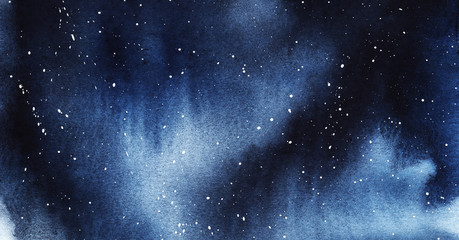 Starry night Deep dark sky with drops of stars. drawn by hand