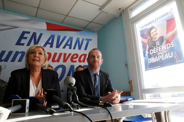 Marine Le Pen, France's far-right National Front (FN) political party leader and Steeve Briois, Mayor of Henin-Beaumont, attend a news conference in Laon,
