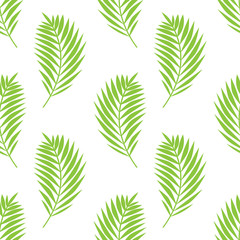 Simple elegant pattern with palm leaves. Green tropical brunches on white background. Seamless vector pattern.
