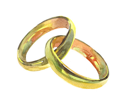 Golden wedding rings. Watercolor illustration isolated on white background.