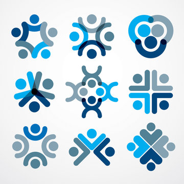 Teamwork and friendship concepts created with simple geometric elements as a people crew. Vector icons or logos set. Unity and collaboration ideas, dream team of business people blue designs.