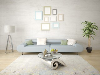Mock up a stylish living room with a trendy compact sofa and a light hipster background.