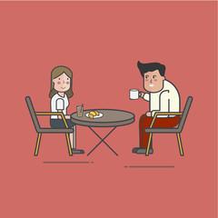 Illustration of coffee cafe set