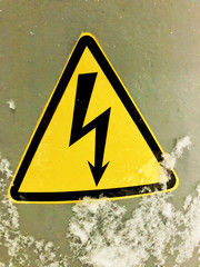 Label High voltage on a snowy column