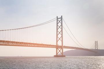 Akashi suspension bridge crossing sea coast, Japan longest bridge Kobe