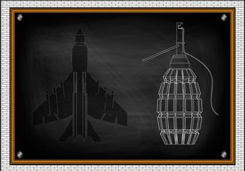 military aircraft and a grenade