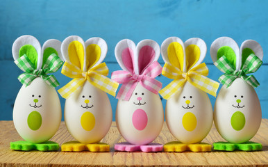 Colored easter eggs bunny. Happy Easter.