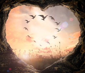 World environment day concept: Heart shape of cave and birds on meadow sunset background