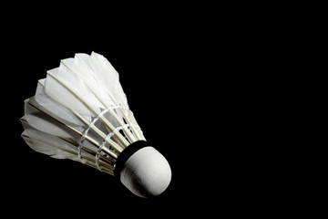 Set Badminton shuttlecock feather professional on isolated black background with text space, copy space.