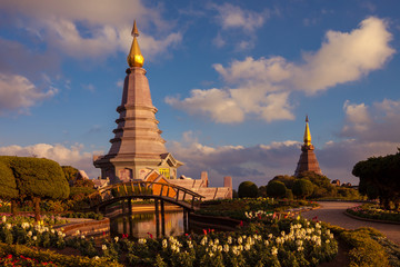 Landscape two pagoda at doi Inthanon national park , chiang mai ,Thailand,They are public domain or treasure of Buddhism, no restrict in copy or use