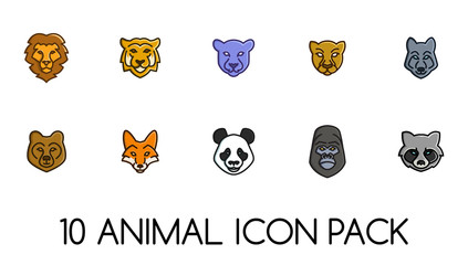 10 Animal Face Icon Pack