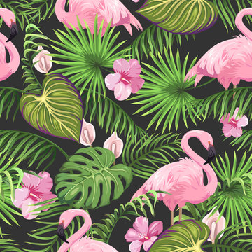 Seamless pattern with tropical leaves, exotic flowers and flamingo